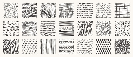 Fototapeta Set of hand drawn patterns isolated. Vector textures made with ink, pencil, brush. Geometric doodle shapes of spots, dots, circles, strokes, stripes, lines. Template for social media, posters, prints obraz