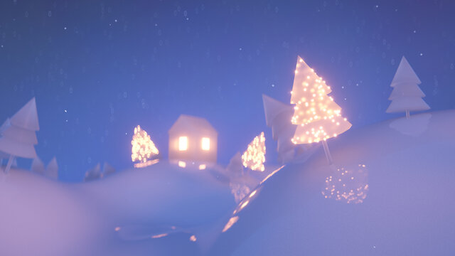 Christmas low poly scene with snowfall 3D render