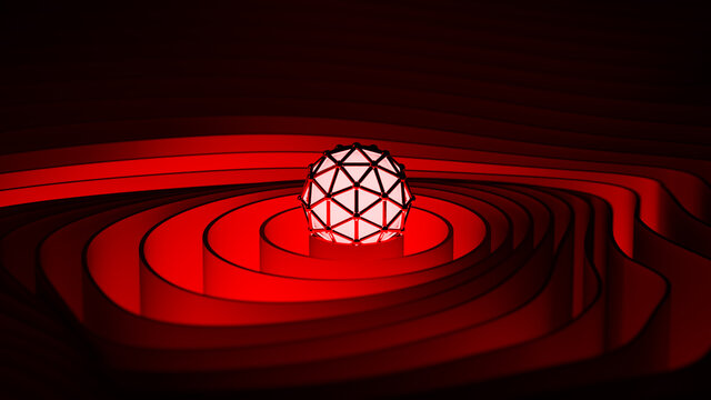 Red concentric circles 3D rendering illustration
