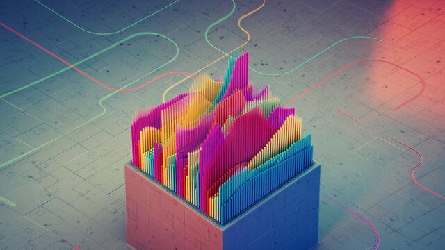 Colorful visualization of soundwave 3D rendering illustration