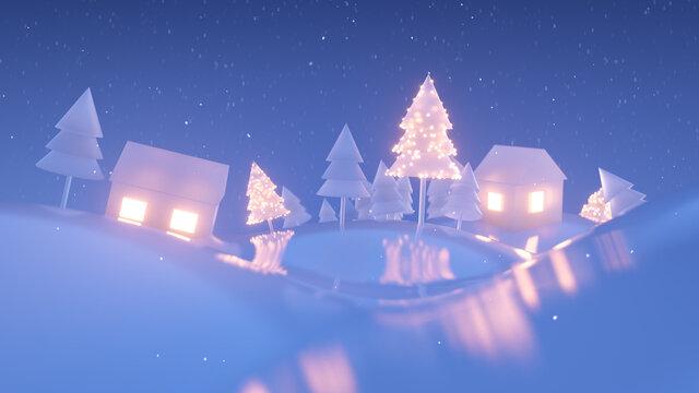 Village in winter 3D render