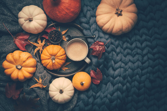 Autumn flatlay with cup of coffee, pumpkins and cuddle blanket