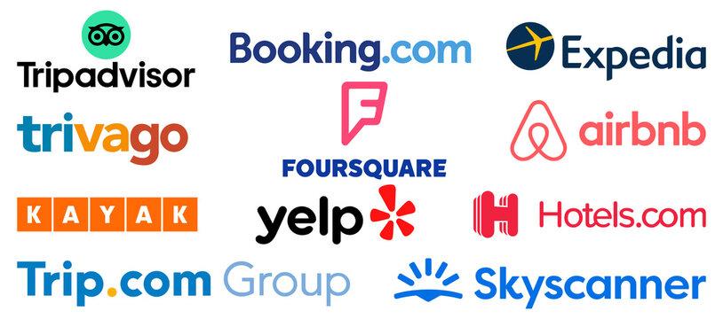 Vinnytsia, Ukraine - September 15, 2021. Most Popular Travel Booking Websites and Apps Icons. Tripadvisor.com, Booking.com, Airbnb, Expedia, Trivago, Skyscanner, Trip.com Group Hotelscom Kayak