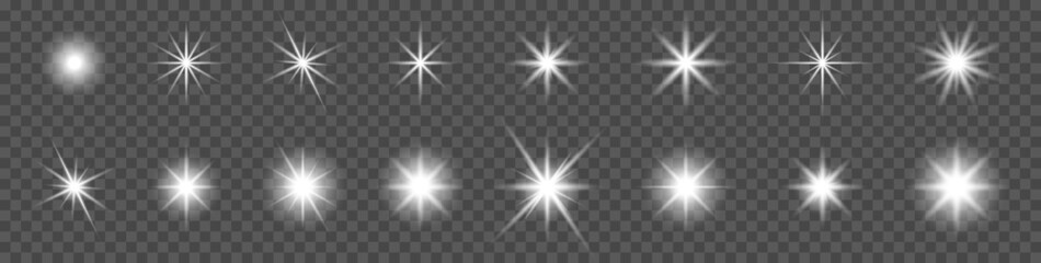 Fototapeta Sparkling star set. Vector glowing star light effect. Special effect isolated on transparent background obraz