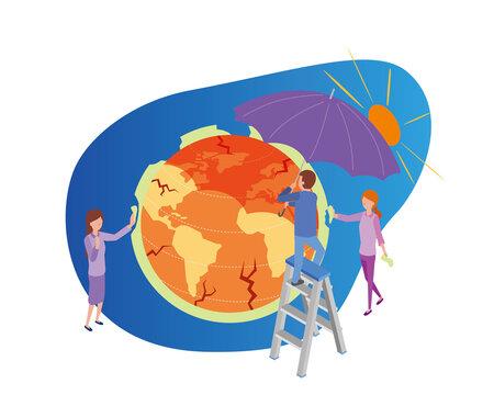 地球温暖化防止のアイソメトリックイラスト