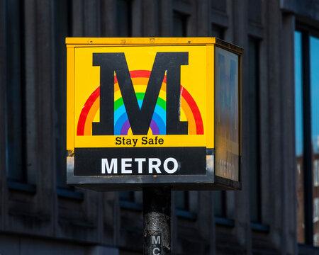 Tyne and Wear Metro Sign in Newcastle upon Tyne, UK