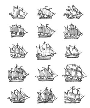 Sail ship, sailboat and brigantine vintage sketch. Vector pirate boat, nautical frigate with flags and wooden deck. Vintage sea vessels, engraved galleons design elements isolated on white background