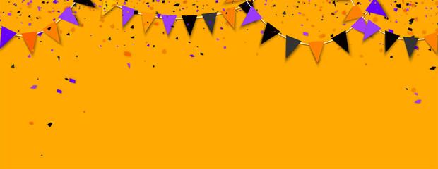 Fototapeta Holiday flags garland and colorful confetti. obraz