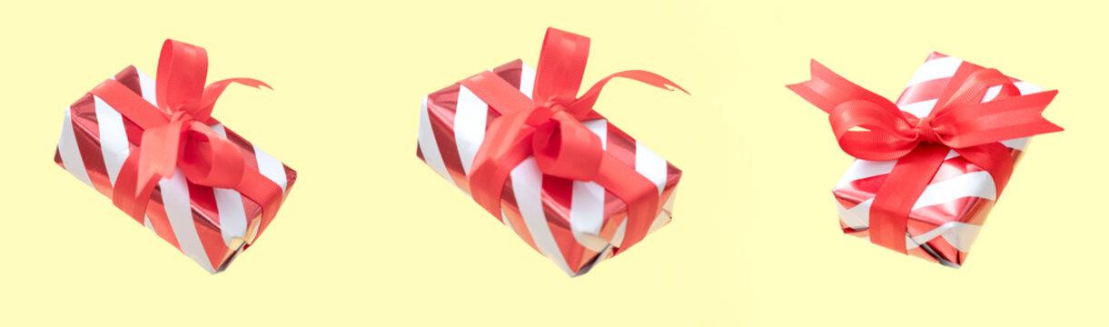 Christmas gift box set, levitation on warm background.