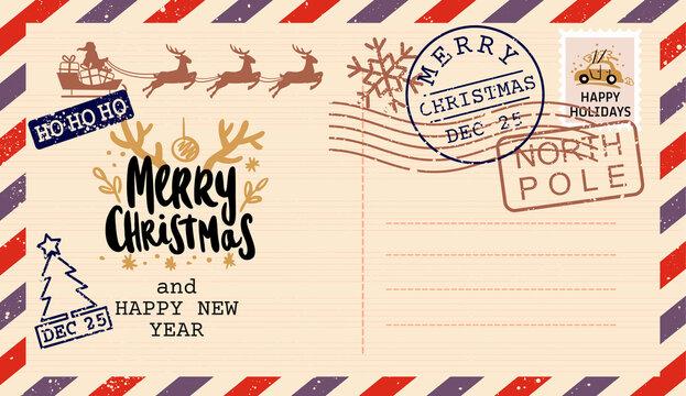Vintage letter to Santa Claus postcard. Christmas mail
