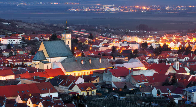 Small town in Slovakia - Svaty Jur at night
