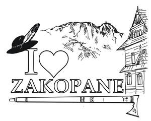 Fototapeta Zakopane, I love zakopane, Tatry, Giewont, miasto, góry, góralski, folklor góralski, parzenica, ciupaga,  obraz