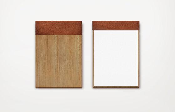 brown wooden menu clipboard render