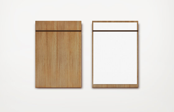 brown wooden menu dark band clipboard