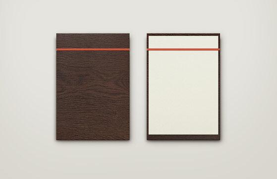 dark brown wooden menuwith red band clipboard