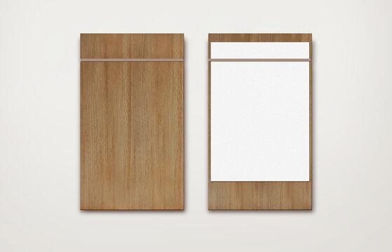 brown wooden menu rubber band clipboard