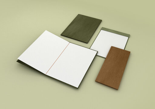 menu render with brown and green covers