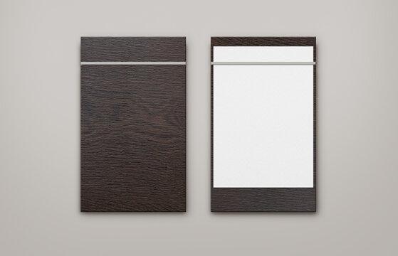 very dark brown wooden menu with grey band clipboard