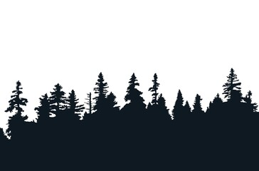 Obraz Background with evergreen forest silhouettes - fototapety do salonu