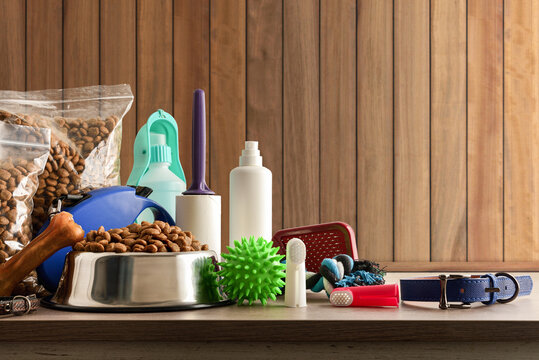 Food and accessories for the dog on wooden table front