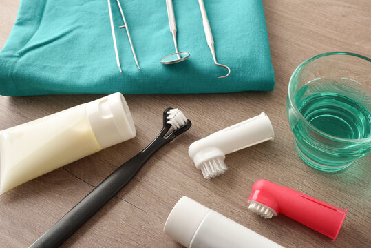 Products for cleaning canine teeth on wooden table elevated view