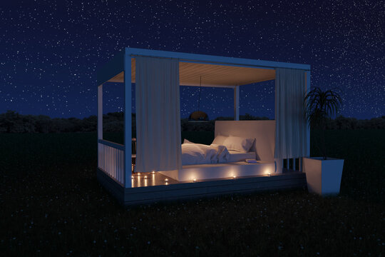3d rendering of white patio roof with white bed outside at green meadow under stars night sky