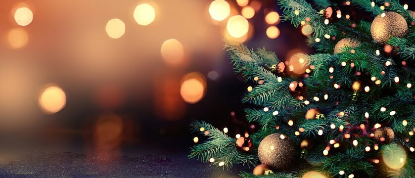 Christmas tree with lights background