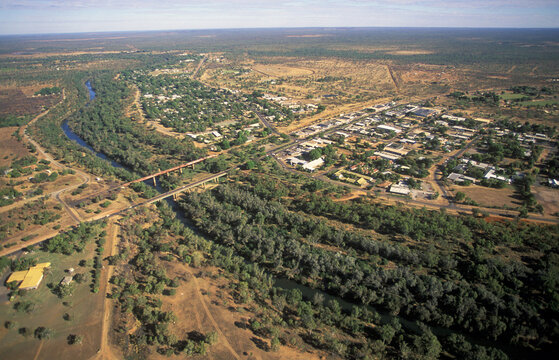The Katherine river and the town of Katherine in the Northern Territory, Australia.