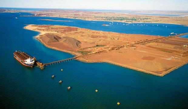 Loading iron ore at Dampier on the Western Australian coast.