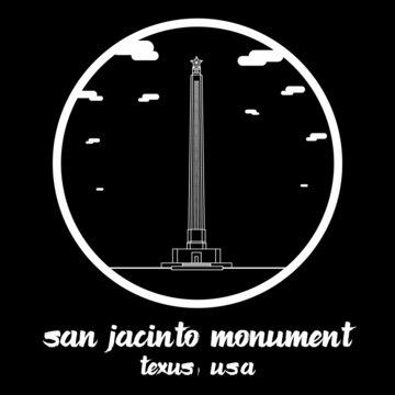 Circle Icon line San Jacinto Monument. Vector illustration