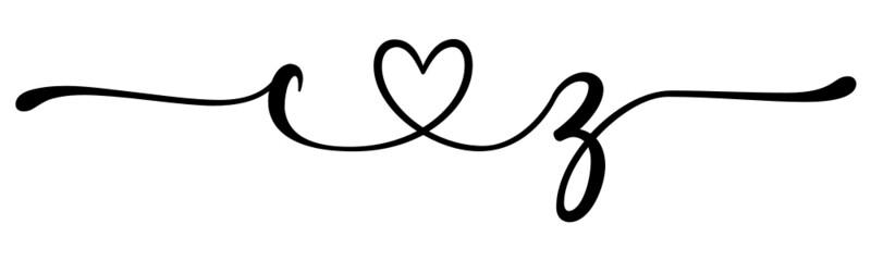 Fototapeta cz, zc, letters with heart Monogram, monogram wedding logo. Love icon, couples Initials, lower case, connecting HEART, home decor, obraz