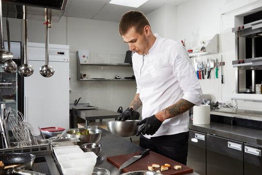 Chef cooking in the modern kitchen in hotel restaurant, preparing shrimp salad