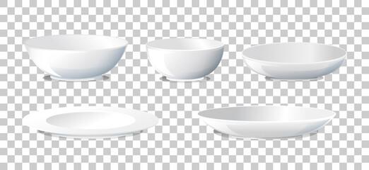 Obraz Set of plate and bowl side view - fototapety do salonu