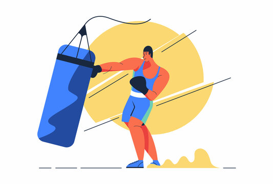 Athlete Boxer man is training hitting sandbag