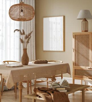 Mock up frame in cozy dining room interior background, 3d render