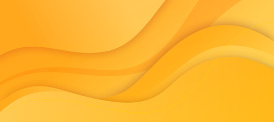 Obraz Abstract yellow background with dynamic effect texture design 3D modern wave curve futuristic graphic bright poster, banner.  Vector luxury paper cut presentation yellow background with waves. - fototapety do salonu