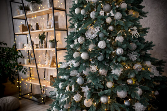 Christmas decorated interior in loft style