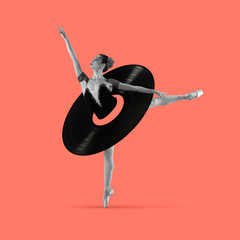 Contemporary art collage, modern design. Retro style. Beautiful ballerina in vinyl plate dancing on...