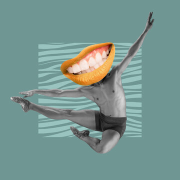 Contemporary art collage, design. Inspiration, idea, imagination, magazine style. Male graceful ballet dancer portrait with female mouth instead head on light background