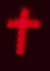 Fototapeta Czerwony, rozmyty krzyż na ciemnym tle. obraz