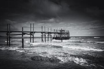pier on the rough sea