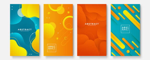 Fototapeta Set of modern orange yellow green red abstract geometric background obraz