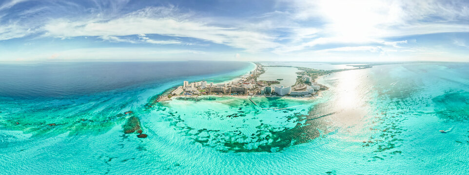 Aerial 360 panoramic view of Cancun beach and city hotel zone in Mexico. Caribbean coast landscape of Mexican resort with beach Playa Caracol and Kukulcan road. Riviera Maya in Quintana roo region on