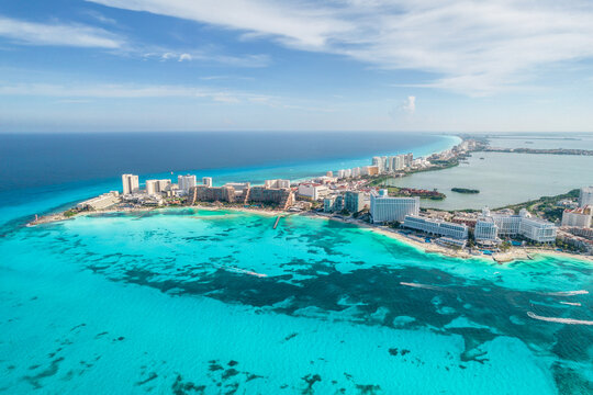 Aerial view of Cancun beach in Mexico. Caribbean coast landscape