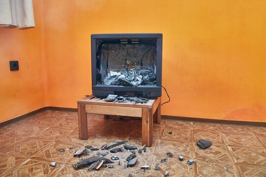 Old TV smashed to pieces