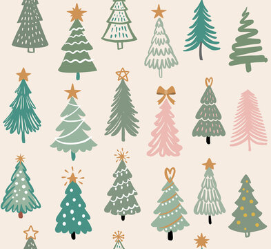 Seamless pattern with Christmas trees. Hand drawing winter fir tree. New year symbol