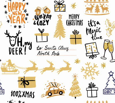 Seamless winter patterns. Christmas and new year