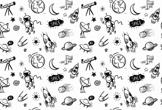 Seamless pattern with doodles cartoon set of space