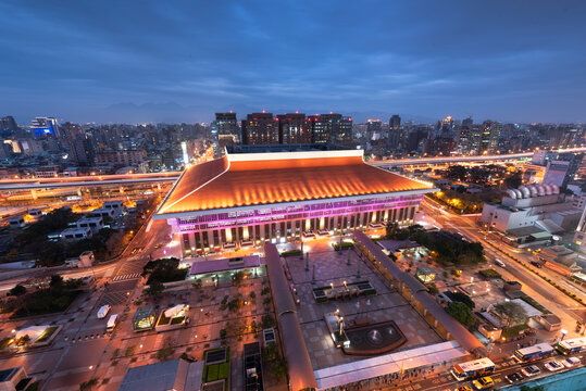 Taipei, Taiwan downtown skyline over the station