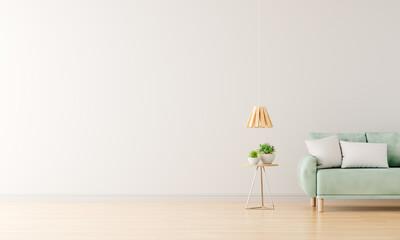 Fototapeta Green sofa in white living room with free space,3D rendering obraz